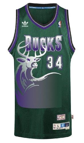 Adidas Men's Milwaukee Bucks NBA Ray Allen Swingman Jersey Green Large