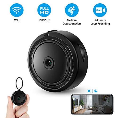 Hidden Camera, (2019 Upgraded) Mini WiFi Hidden Cam 120° Wide-Angle Lens, Full HD 1080P Home Security Camera with Motion Detection, Night Vision IP Camera with Remote View, Nanny Cam with Phone App (Best Mini Spy Camera 2019)