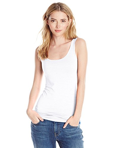 (Three Dots Women's Refined Jersey Fitted Long Tank, white MEDIUM)
