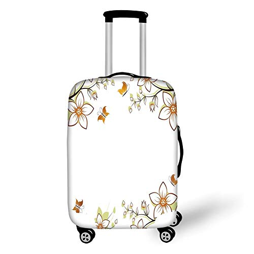 Travel Luggage Cover Suitcase Protector,Floral,Flowers Leaves Branches Buds Butterflies Frame like Image Print,Light Brown Pale Green White,for TravelL 25.9x37.8Inch