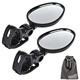 EEEKit 2 Items Bundle Universal Mini Rotaty Rearview Handlebar Glass Mirror for Bike