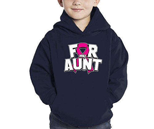 HAASE UNLIMITED Toddler Little Boy Pink Ribbon for My Aunt - Breast Cancer Hoodie Sweatshirt (2T, Navy Blue)