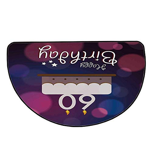 """60th Birthday Decorations Comfortable Semicircle Mat,Cartoon Modern Party Cake Quote on Abstract Backdrop for Living Room,19.6"""" H x 39.3"""" L"""