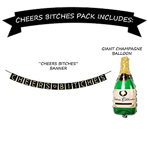 """Cheers B*tches"" Bachelorette Party Banner Set - Bachelorette Party Decorations, Favors, and Supplies by Sterling James Company"