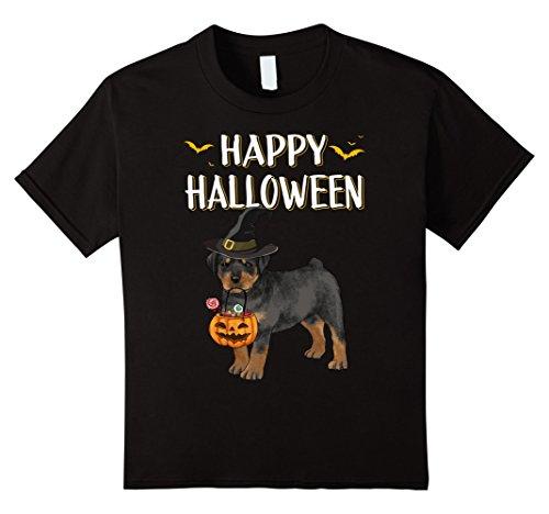 Kids Cute Rottweiler Happy Halloween Witch Dog Lovers T-Shirt 4 Black