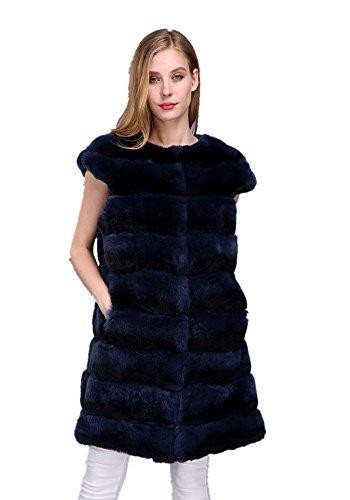 LVCOMEFF Women Genuine Rex Rabbit Fur Chinchilla Long Vest 1706023 (Navy Chinchilla, L(Vest Bust 110cm)) ()