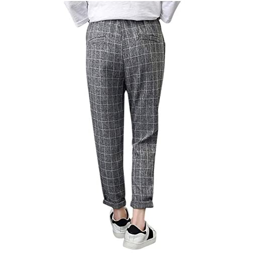 Women's Casual Pants Fashion Linen Striped Harem Pants Trousers 4