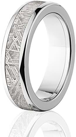 6mm Meteorite Ring w/ Titanium Ring Edges And Deluxe Comfort Fit
