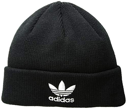 adidas Men's Originals Trefoil Beanie, Black/White, One Size Black Visor Beanie Hat