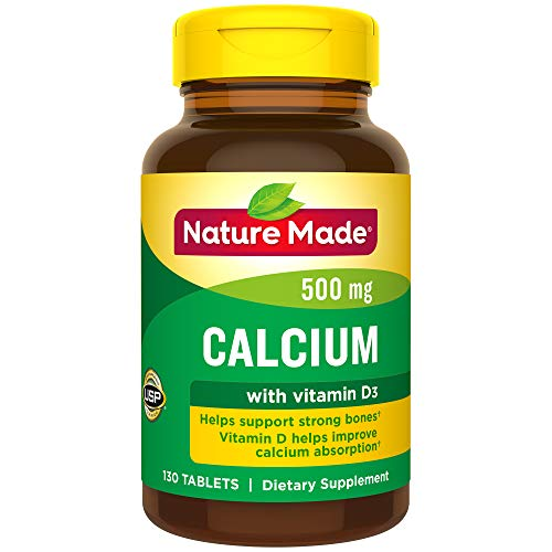 Nature Made Calcium 500 mg Tablets with Vitamin D, 130 Count for Bone Health (Packaging May Vary) ()