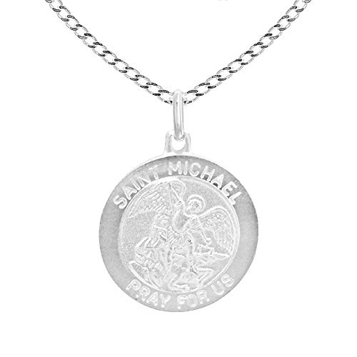Sterling Silver Saint St Michael Medal 22 mm Large Round Pendant 20 Inches Curb Necklace
