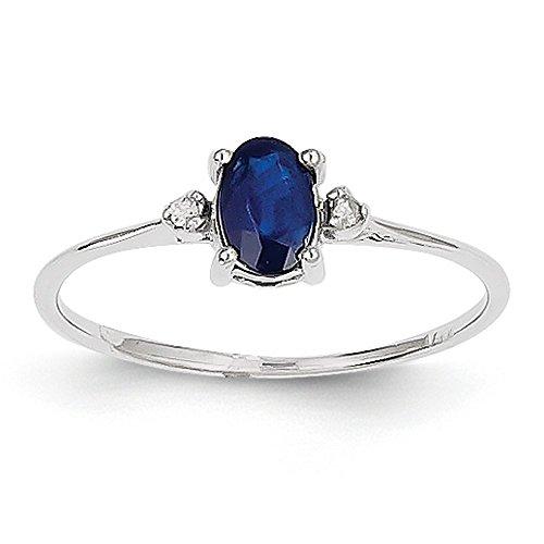 Icecarats Taille De Créatrice De Bijoux 6 14K Diamant Or Blanc Saphir Bague De Pierre De Naissance