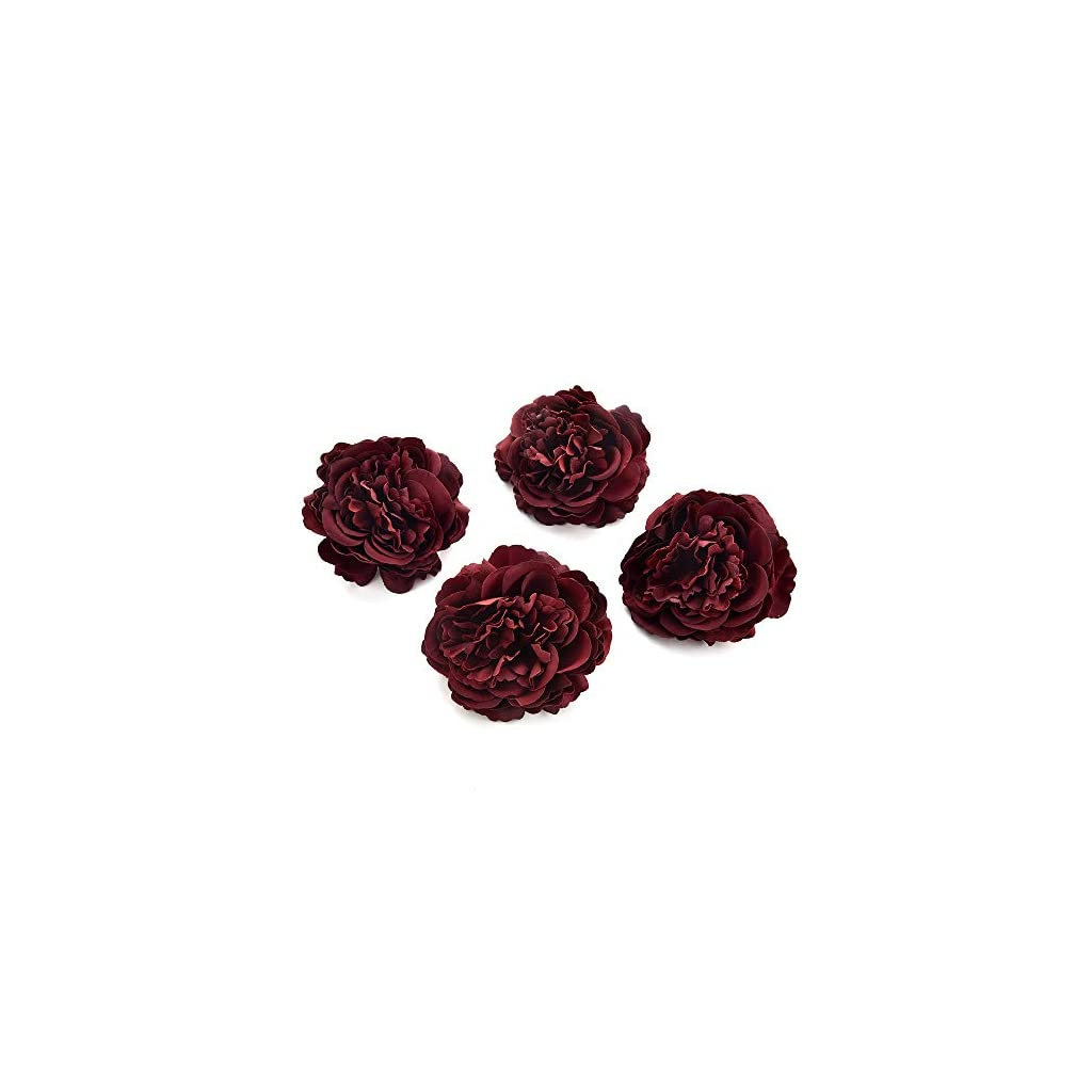 silk flowers in bulk wholesale Fake Flowers Heads Artificial Silk Rose Flower Head for Home Garden Wedding Birthday Party Decoration DIY Scrapbooking Cheap Fake Flower 8PCS 7.5 cm (Burgundy)