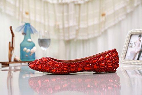 A Strass Minitoo Donna Sposa Da Festa Moda Appartamenti Mzll030 Fatto Raso Mano Confortevole In Ballo Rosso xqXqwZC