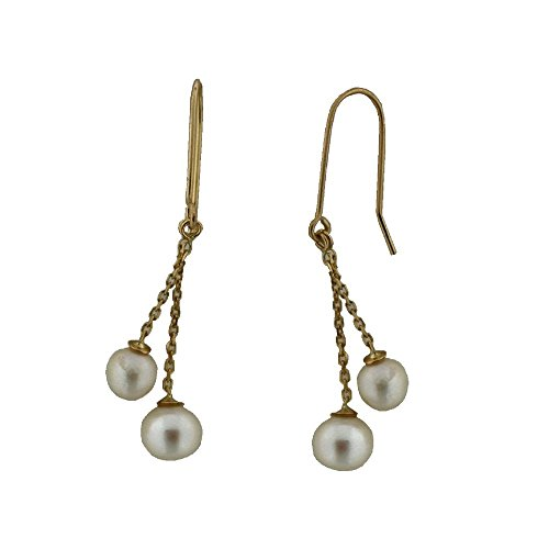18K Dangle Cultivated Pearls earring with hook .Pearls 5.1 mm and 6.30 mm 1.40 inch long by Amalia