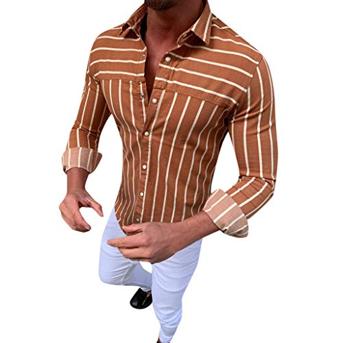 1105 Sheer - iLXHD Men's Button Down Shirt Baggy Stripe Turn Down Long Sleeve Retro T Shirts Tops Blouse Khaki