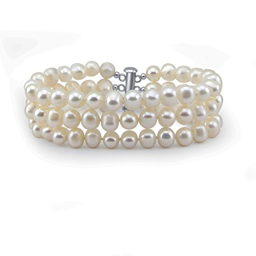 3-Row White A Grade 6.5-7mm Freshwater Cultured Pearl Bracelet with base metal clasp, 8