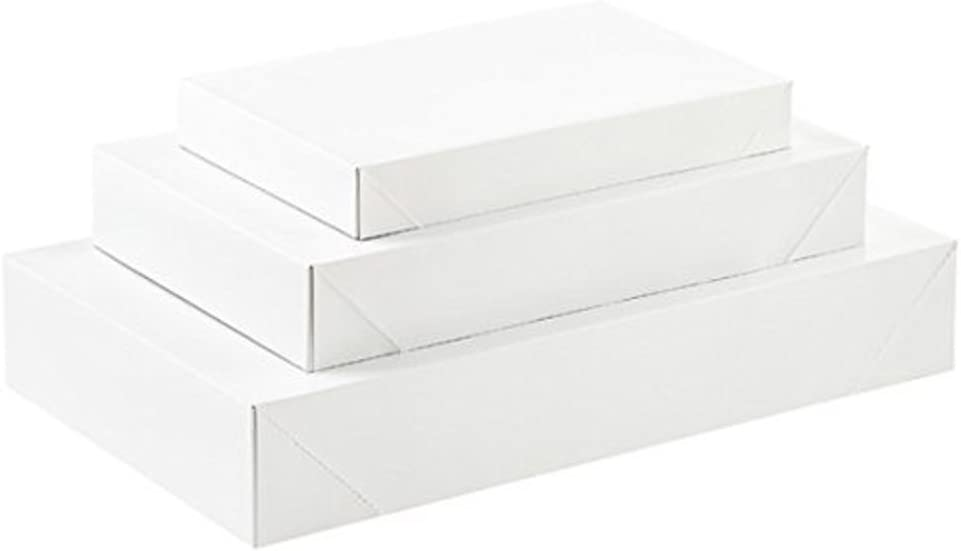 10 Pack White Gift Wrap Boxes with Lids - Assorted Multi-Pack by ALL DAY GIFTS
