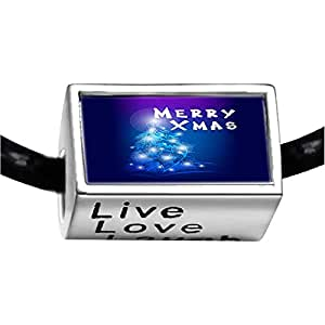 Chicforest Silver Plated merry XMAS christmas tree Photo Live Love Laugh Charm Beads Fits Pandora Bracelet