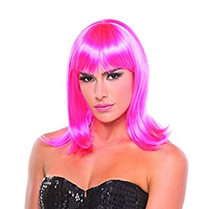 Hot Pink Solid Color Doll Bangs Wig