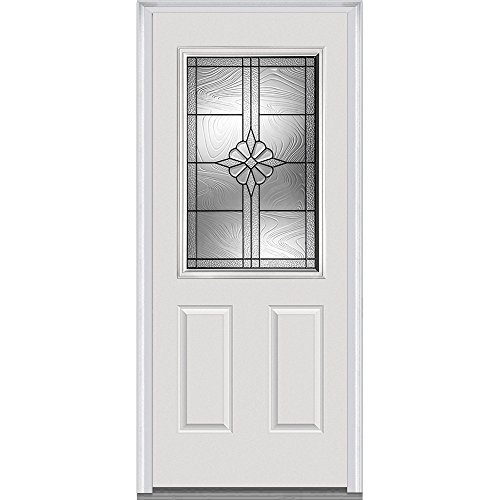 National Door Company Z021405L Majestic Steel Prehung Left Hand In-Swing Entry Door, 1/2 Lite, 2-Panel, Dahlia Collection, 36'' x 80'' by National Door Company