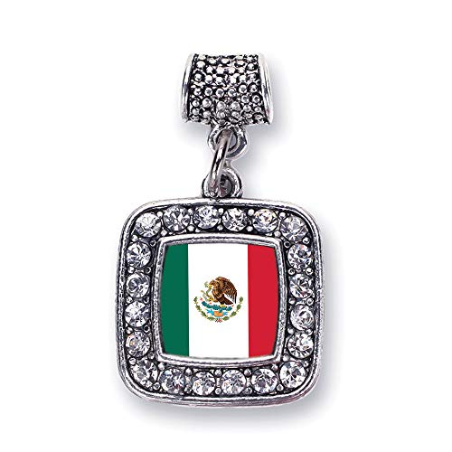 Inspired Silver - Mexican Flag Memory Charm for Women - Silver Square Charm for Bracelet with Cubic Zirconia Jewelry