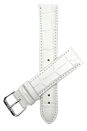 Extra Long (XL) 18mm White Womens' Alligator Style Genuine Leather Watch Strap Band