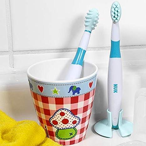 NUK 10256205 - Conjunto de aprendizaje dental cuidado, de 2 piezas, limpieza y cepillado entrenador entrenador, incl. anillo de protección, ...