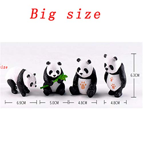 4Pc Cute Artificial Giant Panda Figurines Miniatures Animal Ornament Fairy Garden Gnome Resin Home Decorations Accessories 4pcs Big -