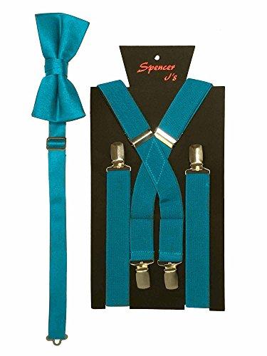 Spencer J's Men's X Back Suspenders & Bowtie Set Verity of Colors (Turquoise) -
