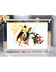 WINKINE Clear Acrylic Photo Frames 8x10, Magnetic Rainbow Floating Picture Frames with Gift Box Package, Double Sided Frameless Free Standing Desktop Picture Display