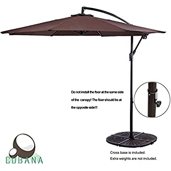 Beautiful COBANA 10u0027 Cantilever Freestanding Patio Umbrella Hanging Outdoor Umbrella  With Crank And Base, 250g