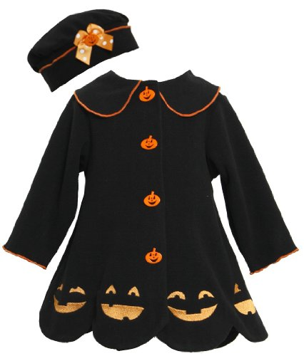 Bonnie Jean Girls Jack-O'-Lantern Halloween Fall Winter Coat & Hat, Black, 2T