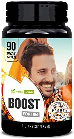 Herbal Revival Boost for Him - 100% Natural Supplement for HEALTHY LIFESTYLE - Supports Physical Endurance, Muscle Growth, Vascularity, Promotes Testosterone & Energy Levels, Mood, Size 90 Veg Capsule