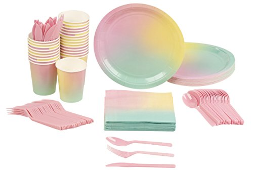 Disposable Dinnerware Set - Serves 24 - Ombre Party Supplies for Kids Birthdays, Bridal Showers, Includes Plastic Knives, Spoons, Forks, Paper Plates, Napkins, Cups