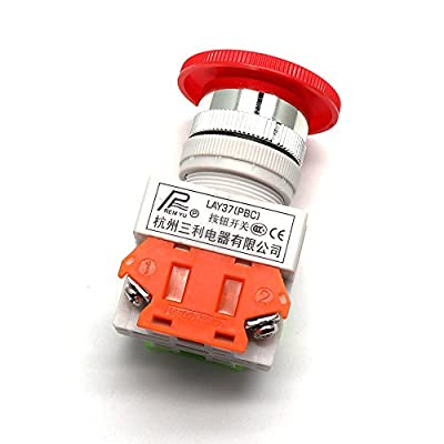 LDEXIN Red Mushroom Cap 22mm 1NO 1NC DPST Emergency Stop Push Button Switch AC 600V 10A