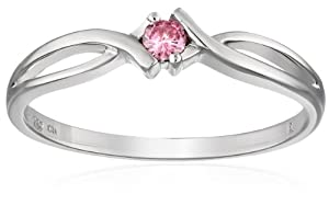 Sterling Silver Pink Diamond Engagement Ring, (0.01 cttw) by Amazon Curated Collection