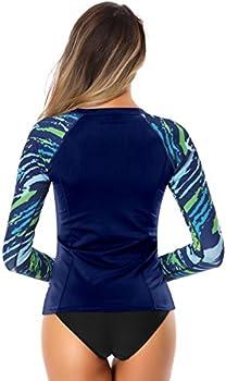 AXESEA Womens Rash Guard Tops Long Sleeve Bathing Suits Printed UV Sun Protection Swim Shirt
