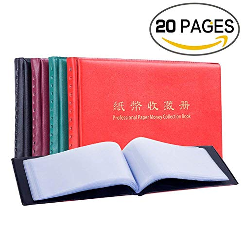 zcccom Banknote Currency Album Paper Money Pocket Holders 20 Pages Commemorative Cash Collectible (King Size)