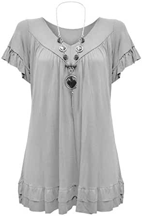 Womens Plus Size Frill Necklace Gypsy Tunic V Neck Top US 6-20
