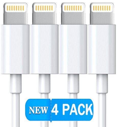 Lightning iPhone Cable, Certified Power Gadgets [Heavy Duty] 3 FEET/ 1 METER Lightning to USB Sync & Charge Cable Cord iOS10 iPhone, iPad, iPod (4 Pack)