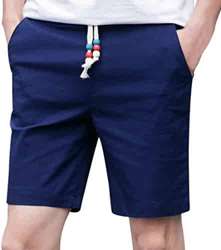 33b97099c234 PASATO Men Summer Linen Cotton Solid Beach Casual Elastic Waist Classic Fit  Shorts