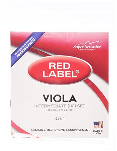 Super-Sensitive 4105 Red Label Full Core Intermediate 14-Inch Viola Strings, Set of 4, Medium from Super Sensitive