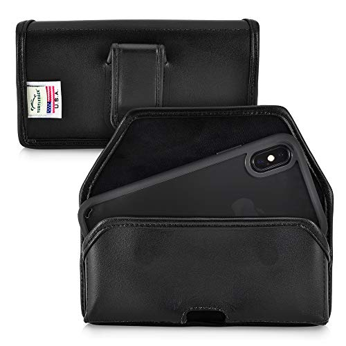 (Turtleback Holster Designed for iPhone Xs (2018) / Designed for iPhone X (2017) Belt Case Black Leather Pouch with Executive Belt Clip, Horizontal Made in USA)