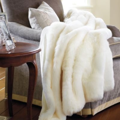 Soft Plush Faux Fur Throw Blanket - Mink - Rabbit - Low Shor