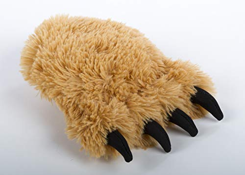 TrustyPup Fuzzy Bear Foot with Chew Guard Technology Durable Plush Squeaker Dog Toy Medium, Tan
