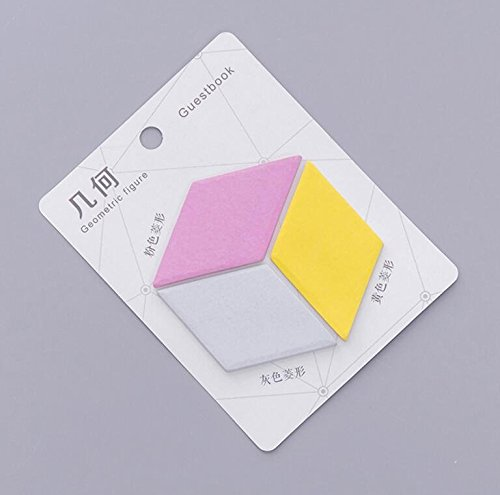 Junson Geometric Shapes Sticky Note Colorful Message Note for Student Stationery (Cube)