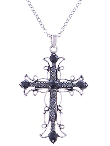 Alilang Black & Slive Gold Plated Rhinestone Flower Cross Cubic Zirconia Pendant Necklace