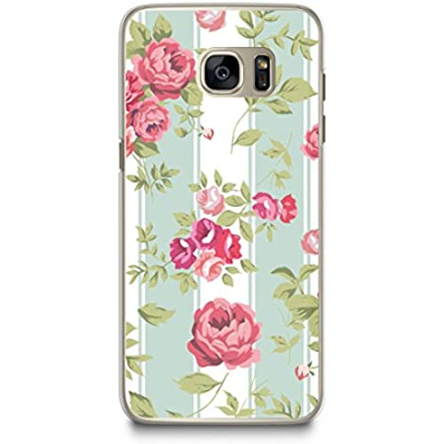 Case for Samsung S7, CasesByLorraine Mint Striped Rose Floral Pattern Case Plastic Hard Cover for Samsung Galaxy S7 (P26) Sales
