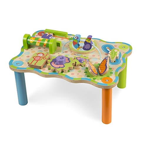 "(Melissa & Doug First Play Jungle Wooden Activity Table (Baby and Toddler Toy, Sturdy Wooden Construction, Helps Develop Fine Motor Skills, 12"" H x 11"" W x 17"" L))"